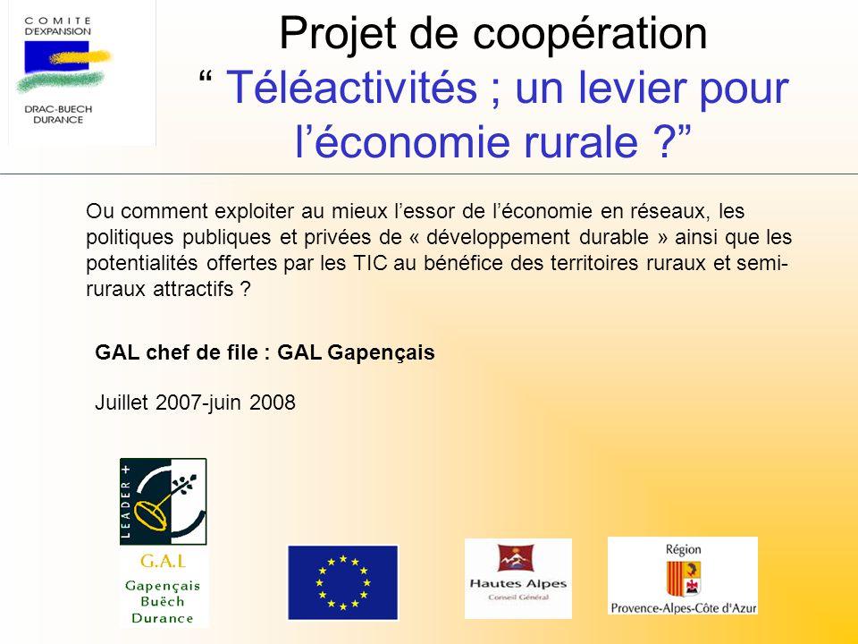 Projet de coopération Téléactivités ; un levier pour léconomie rurale ? Ou comment exploiter au mieux lessor de léconomie en réseaux, les politiques p