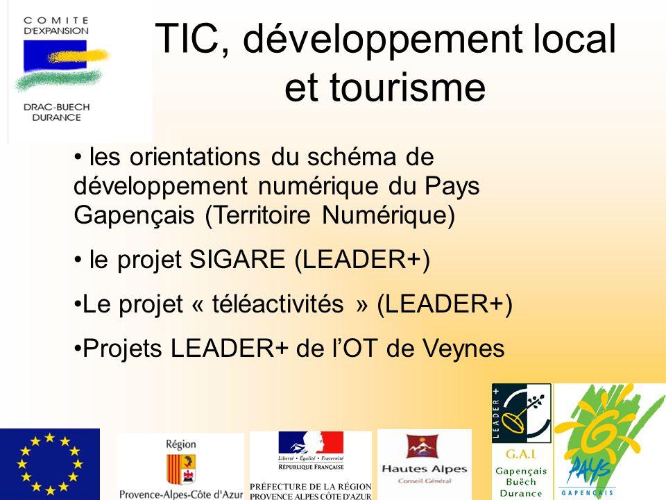 TIC, développement local et tourisme les orientations du schéma de développement numérique du Pays Gapençais (Territoire Numérique) le projet SIGARE (LEADER+) Le projet « téléactivités » (LEADER+) Projets LEADER+ de lOT de Veynes