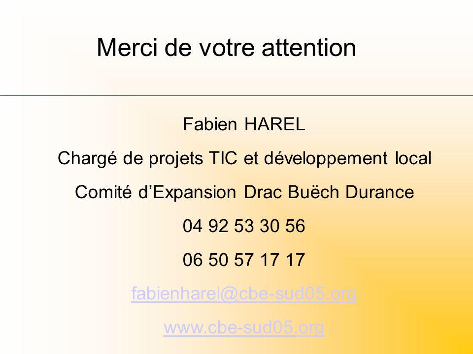 Merci de votre attention Fabien HAREL Chargé de projets TIC et développement local Comité dExpansion Drac Buëch Durance 04 92 53 30 56 06 50 57 17 17 fabienharel@cbe-sud05.org www.cbe-sud05.org