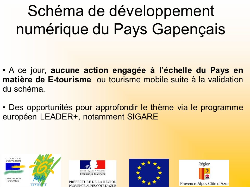 Schéma de développement numérique du Pays Gapençais A ce jour, aucune action engagée à léchelle du Pays en matière de E-tourisme ou tourisme mobile suite à la validation du schéma.