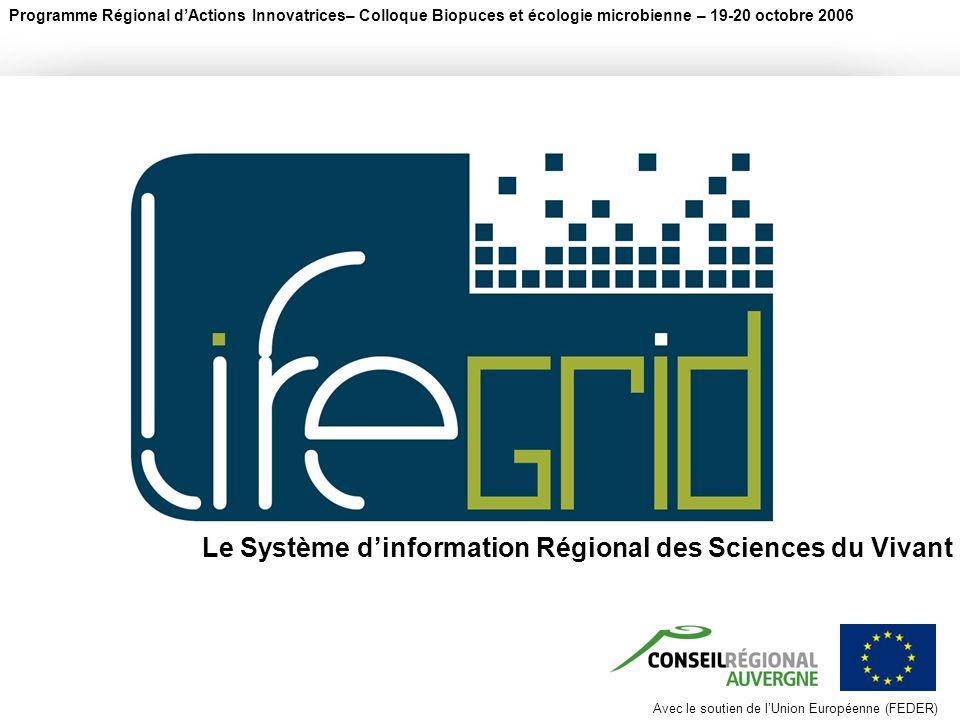 Avec le soutien de lUnion Européenne (FEDER) Programme Régional dActions Innovatrices– Colloque Biopuces et écologie microbienne – 19-20 octobre 2006 Avec le soutien de lUnion Européenne (FEDER) Le Système dinformation Régional des Sciences du Vivant