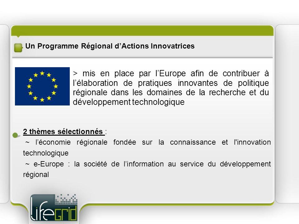 Un Programme Régional dActions Innovatrices > mis en place par lEurope afin de contribuer à lélaboration de pratiques innovantes de politique régionale dans les domaines de la recherche et du développement technologique 2 thèmes sélectionnés : ~ léconomie régionale fondée sur la connaissance et l innovation technologique ~ e-Europe : la société de linformation au service du développement régional