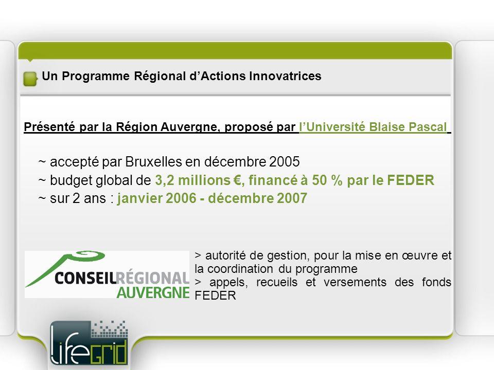 Un Programme Régional dActions Innovatrices ~ accepté par Bruxelles en décembre 2005 ~ budget global de 3,2 millions, financé à 50 % par le FEDER ~ su