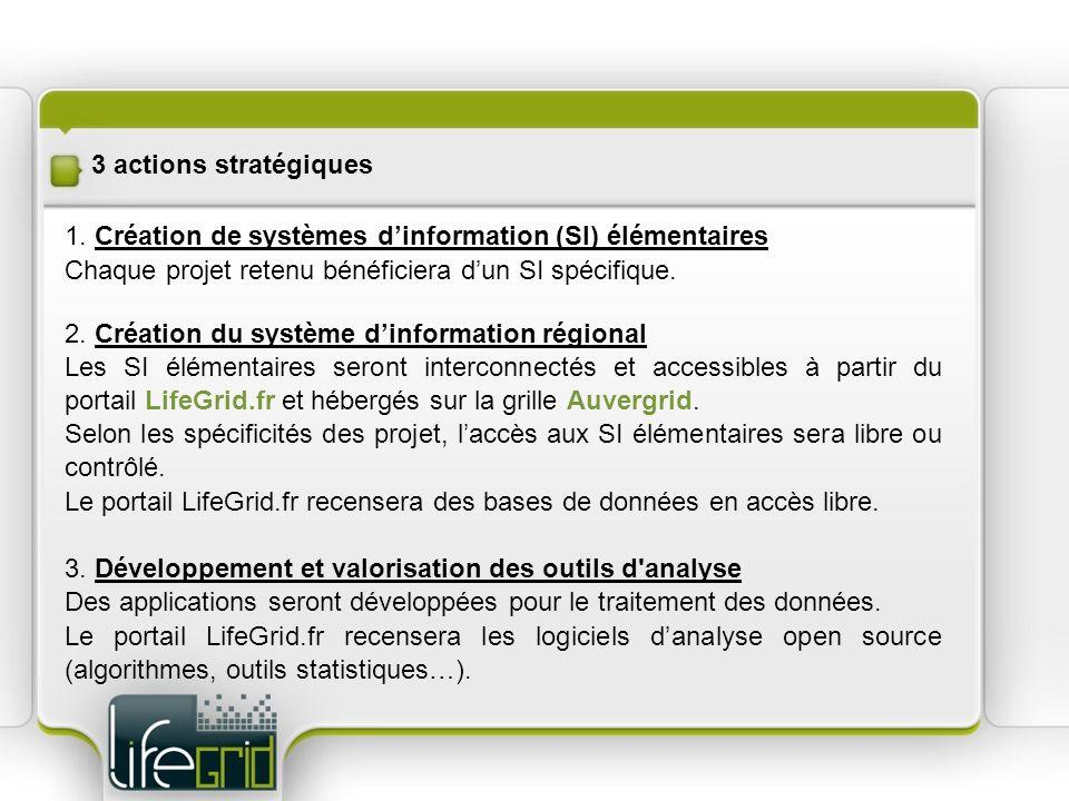 3 actions stratégiques 1. Création de systèmes dinformation (SI) élémentaires Chaque projet retenu bénéficiera dun SI spécifique. 2. Création du systè