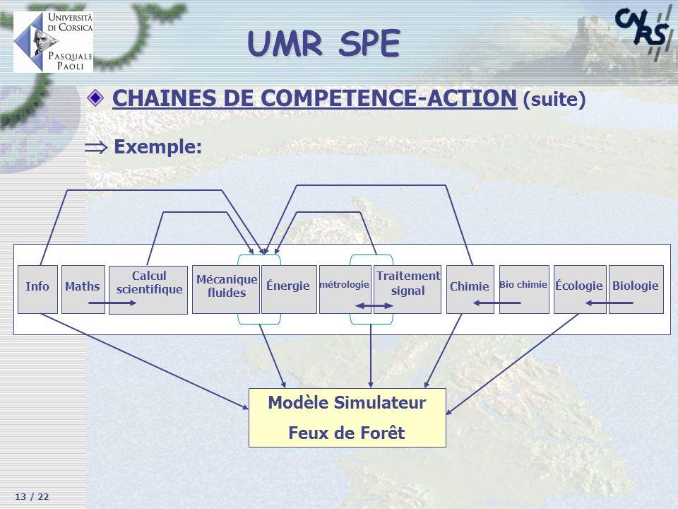 UMR SPE CHAINES DE COMPETENCE-ACTION (suite) Exemple: InfoMaths Calcul scientifique Mécanique fluides Énergie métrologie Traitement signal Chimie Bio