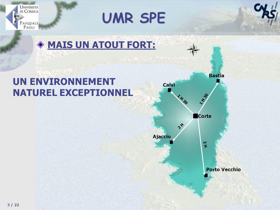 MAIS UN ATOUT FORT: UMR SPE UN ENVIRONNEMENT NATUREL EXCEPTIONNEL Ajaccio Porto Vecchio Bastia Calvi Corte 1 H 30 2 H 1 H 30 3 / 22