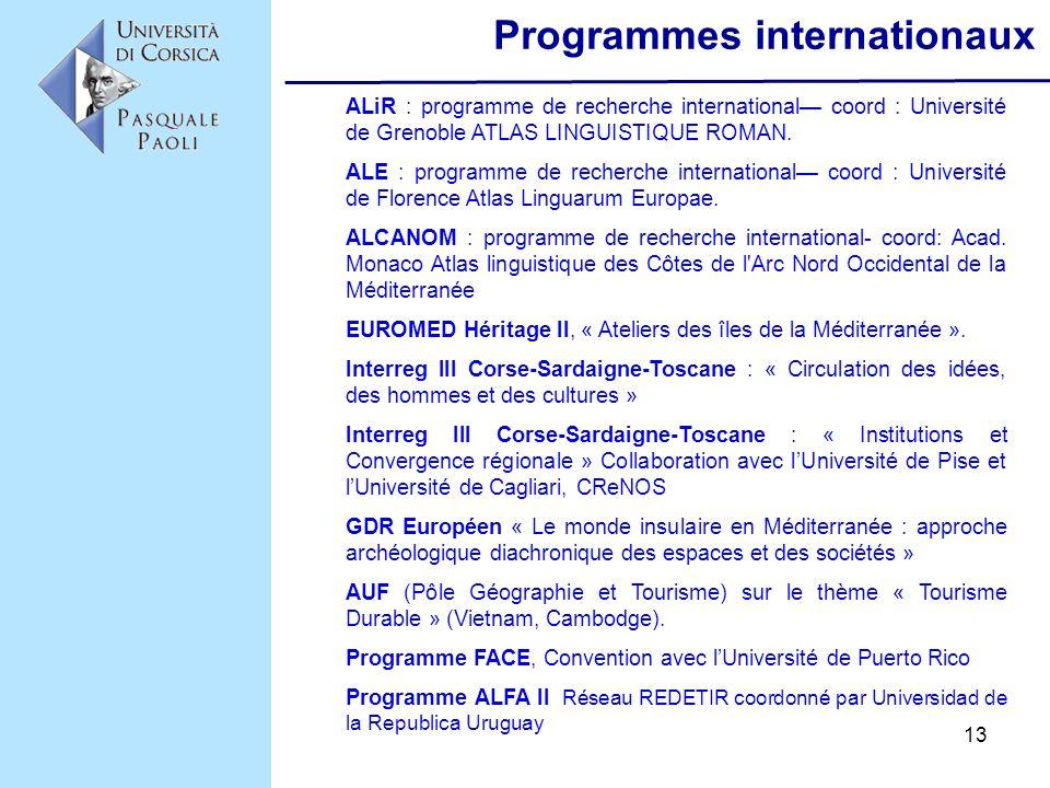 13 Programmes internationaux ALiR : programme de recherche international coord : Université de Grenoble ATLAS LINGUISTIQUE ROMAN. ALE : programme de r