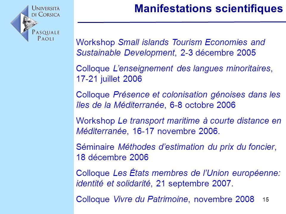 15 Manifestations scientifiques Workshop Small islands Tourism Economies and Sustainable Development, 2-3 décembre 2005 Colloque Lenseignement des lan