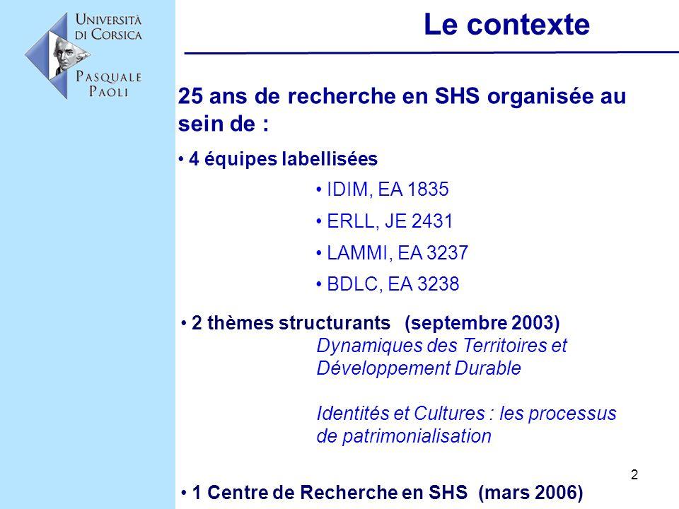 2 Le contexte IDIM, EA 1835 ERLL, JE 2431 LAMMI, EA 3237 BDLC, EA 3238 25 ans de recherche en SHS organisée au sein de : 4 équipes labellisées 2 thème