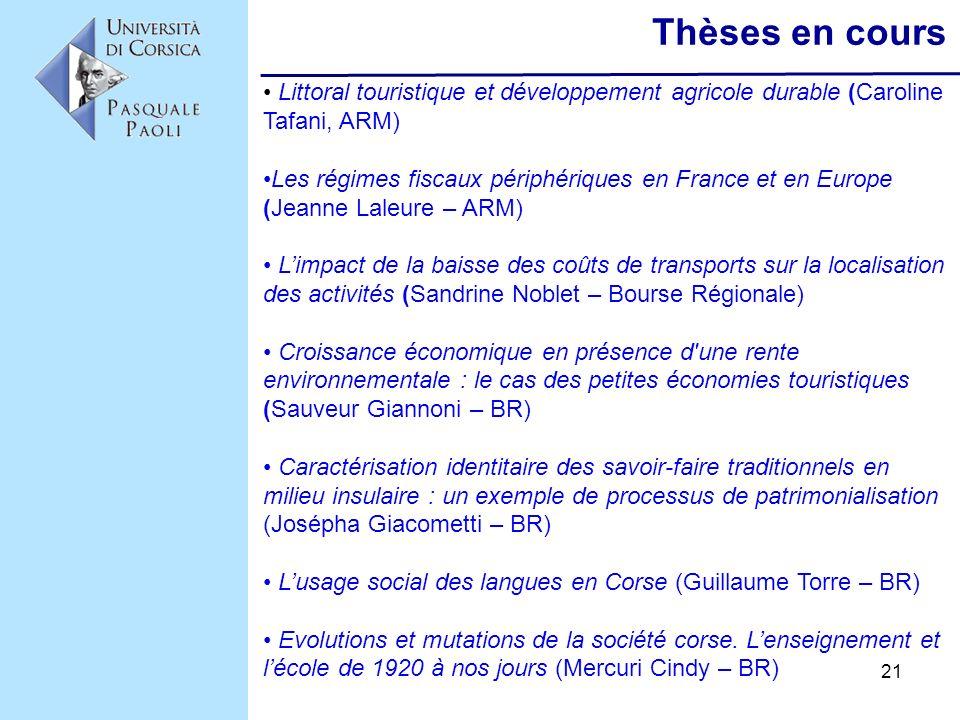 21 Thèses en cours Littoral touristique et développement agricole durable (Caroline Tafani, ARM) Les régimes fiscaux périphériques en France et en Eur