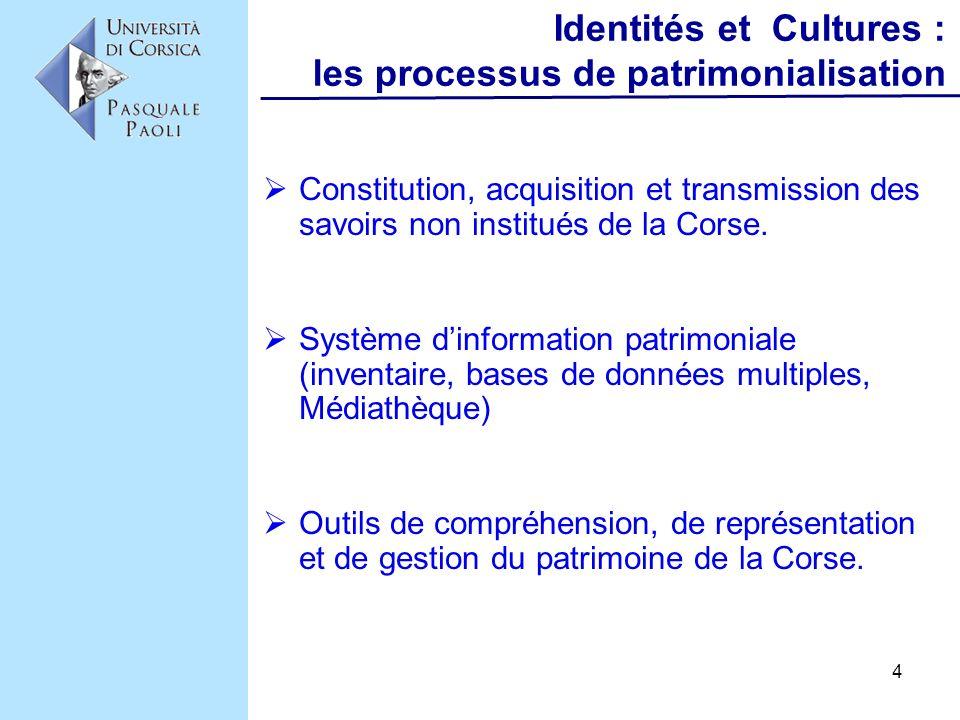 4 Identités et Cultures : les processus de patrimonialisation Constitution, acquisition et transmission des savoirs non institués de la Corse. Système