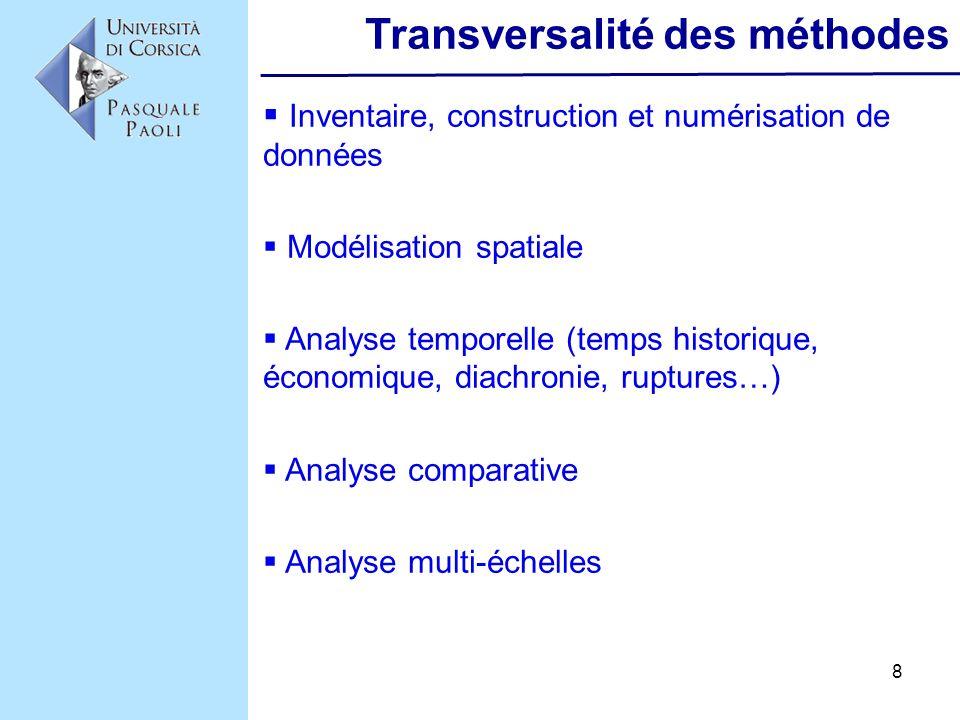 8 Transversalité des méthodes Inventaire, construction et numérisation de données Modélisation spatiale Analyse temporelle (temps historique, économiq