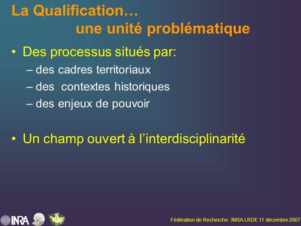 Fédération de Recherche : INRA LRDE 11 décembre 2007 La Qualification… une unité problématique Des processus situés par: –des cadres territoriaux –des contextes historiques –des enjeux de pouvoir Un champ ouvert à linterdisciplinarité