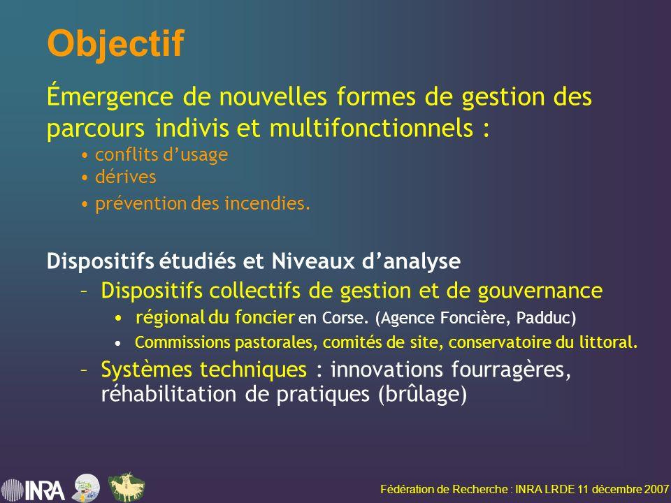 Fédération de Recherche : INRA LRDE 11 décembre 2007 Objectif Dispositifs étudiés et Niveaux danalyse –Dispositifs collectifs de gestion et de gouvernance régional du foncier en Corse.