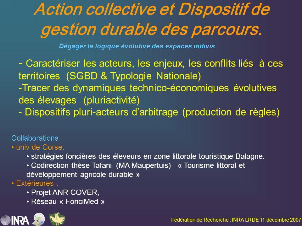 Fédération de Recherche : INRA LRDE 11 décembre 2007 Action collective et Dispositif de gestion durable des parcours.