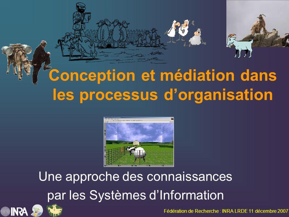 Fédération de Recherche : INRA LRDE 11 décembre 2007 Conception et médiation dans les processus dorganisation Une approche des connaissances par les Systèmes dInformation