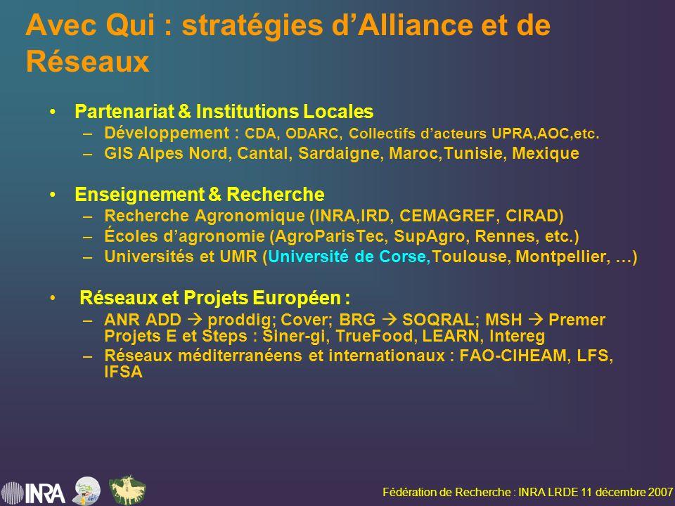 Fédération de Recherche : INRA LRDE 11 décembre 2007 Avec Qui : stratégies dAlliance et de Réseaux Partenariat & Institutions Locales –Développement : CDA, ODARC, Collectifs dacteurs UPRA,AOC,etc.