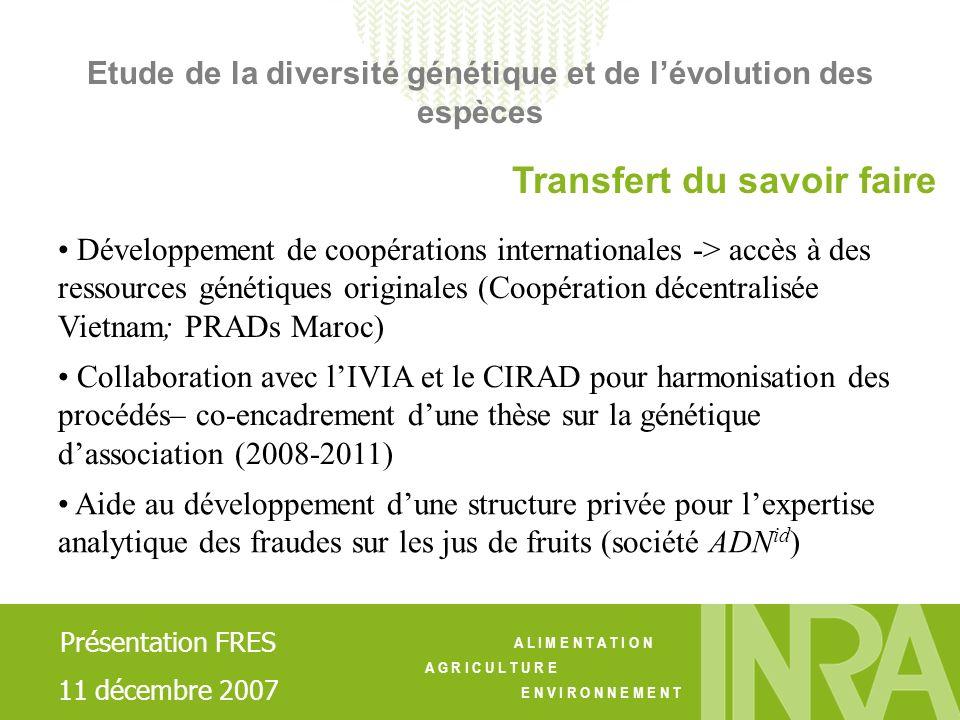 A L I M E N T A T I O N A G R I C U L T U R E E N V I R O N N E M E N T Transfert du savoir faire Développement de coopérations internationales -> acc
