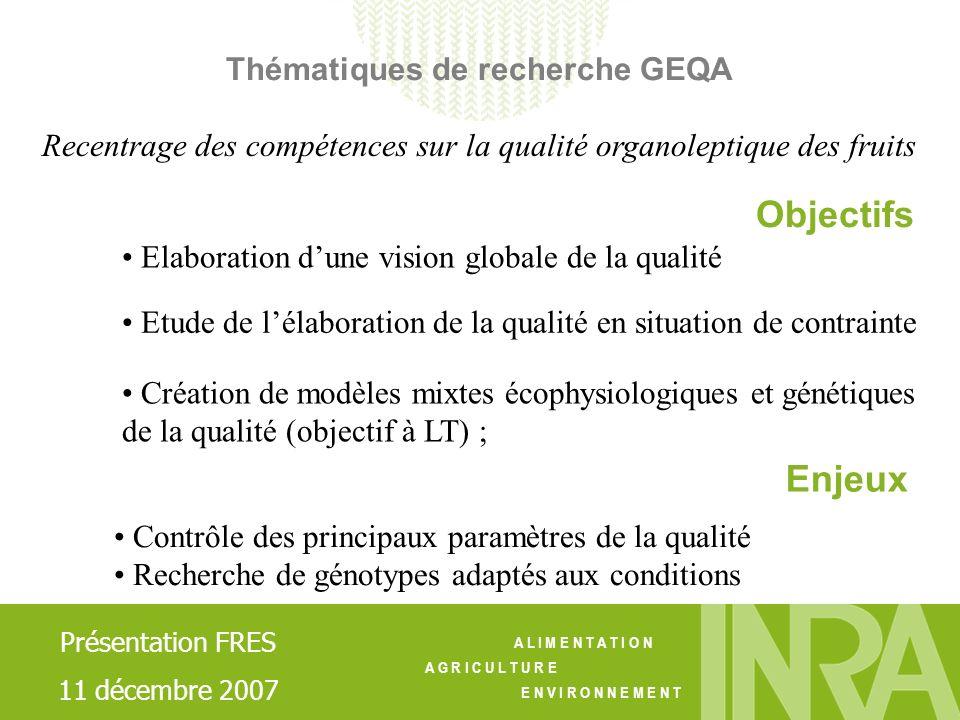 A L I M E N T A T I O N A G R I C U L T U R E E N V I R O N N E M E N T Thématiques de recherche GEQA Elaboration dune vision globale de la qualité Cr