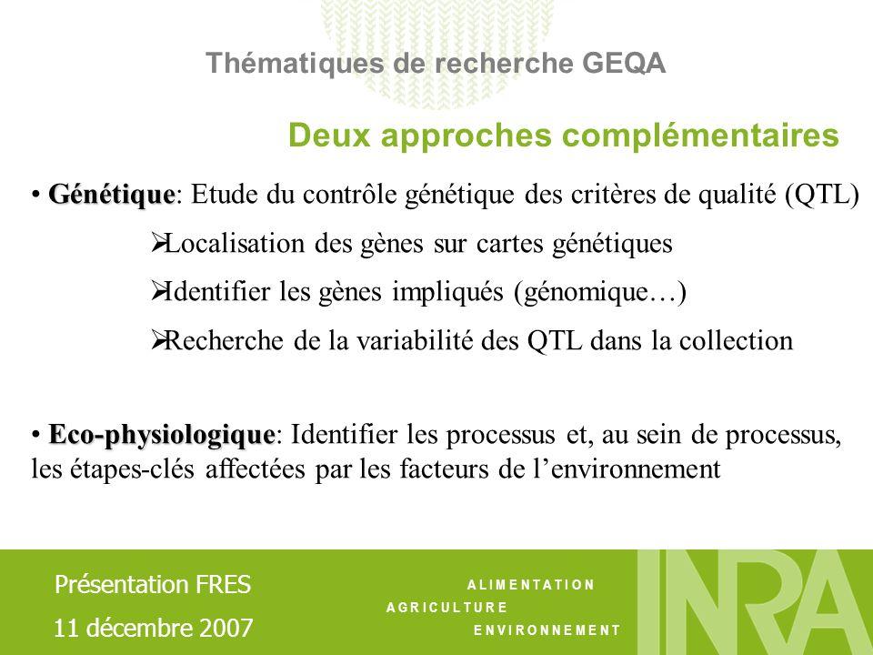 A L I M E N T A T I O N A G R I C U L T U R E E N V I R O N N E M E N T Génétique Génétique: Etude du contrôle génétique des critères de qualité (QTL)