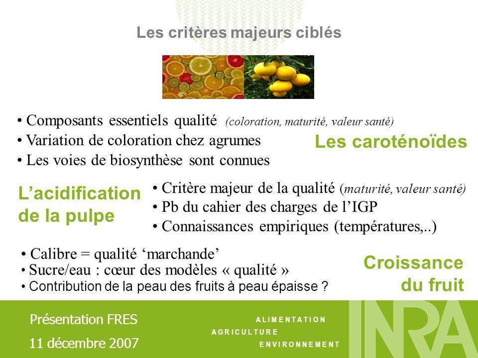 A L I M E N T A T I O N A G R I C U L T U R E E N V I R O N N E M E N T Les caroténoïdes Composants essentiels qualité (coloration, maturité, valeur s
