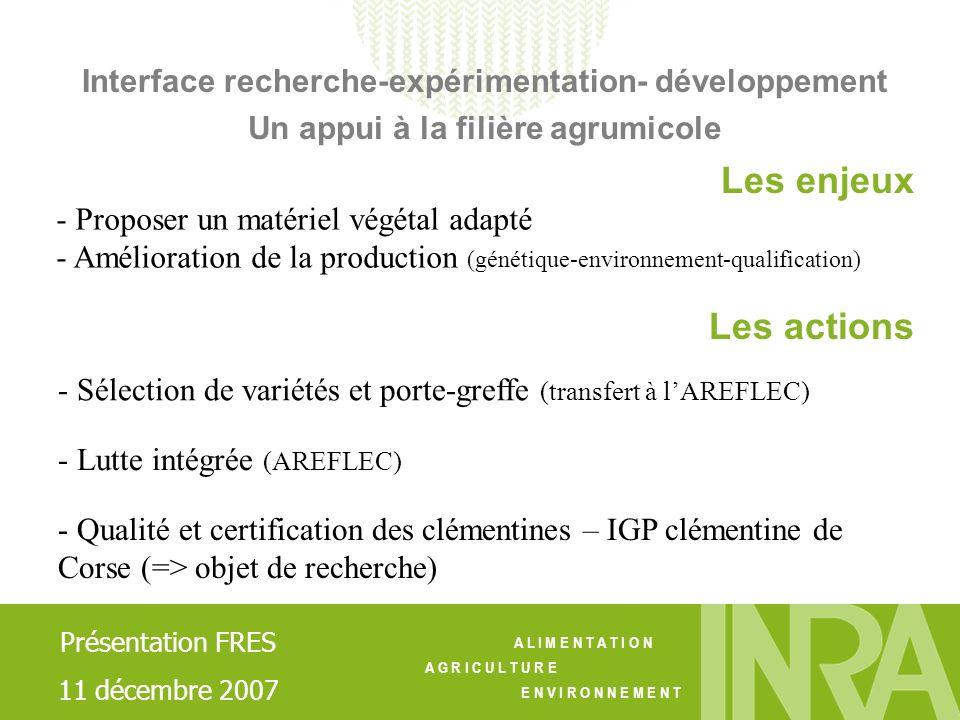 A L I M E N T A T I O N A G R I C U L T U R E E N V I R O N N E M E N T - Qualité et certification des clémentines – IGP clémentine de Corse (=> objet