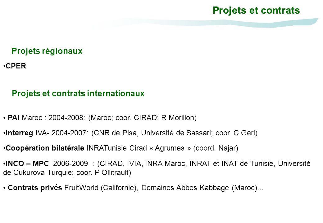 INCO – MPC 2006-2009 : (CIRAD, IVIA, INRA Maroc, INRAT et INAT de Tunisie, Université de Cukurova Turquie; coor. P Ollitrault) Interreg IVA- 2004-2007