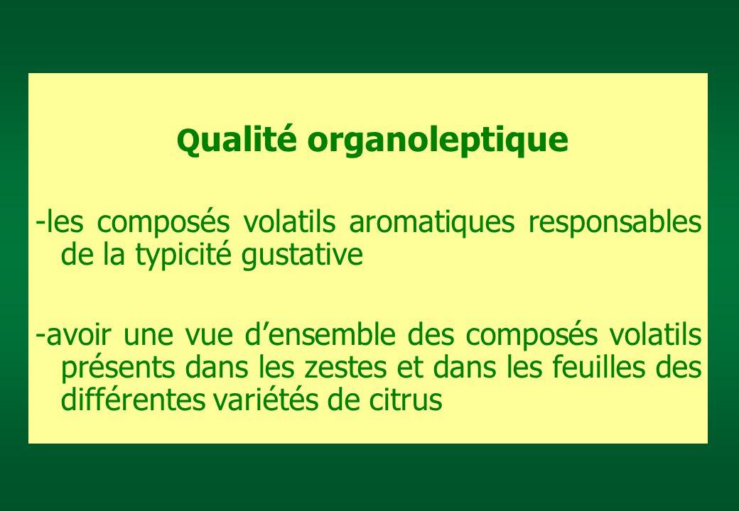 Q ualité organoleptique -les composés volatils aromatiques responsables de la typicité gustative -avoir une vue densemble des composés volatils présen