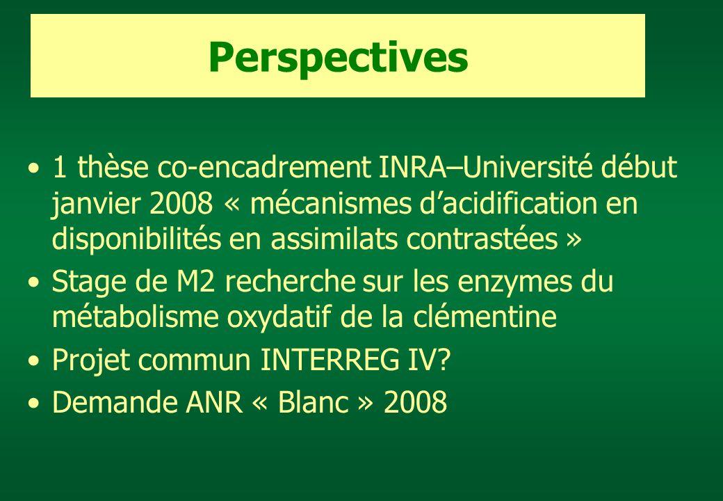 1 thèse co-encadrement INRA–Université début janvier 2008 « mécanismes dacidification en disponibilités en assimilats contrastées » Stage de M2 recher