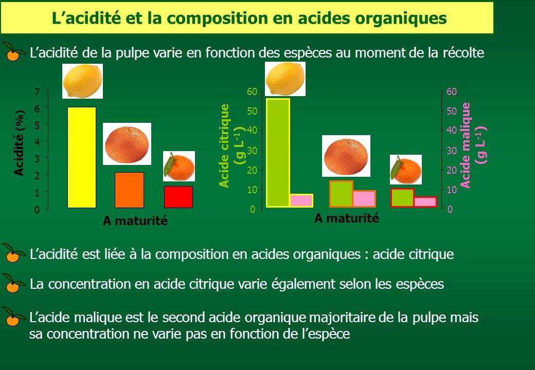 Lacidité et la composition en acides organiques Lacidité de la pulpe varie en fonction des espèces au moment de la récolteLacidité est liée à la compo