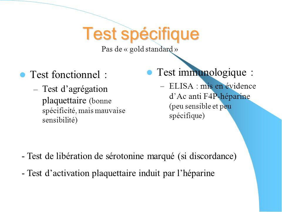 IV) Diagnostic Suivi correct du traitement par lhéparine Signes biologiques : - thrombopénie < 100G/L ou diminution de 30-50% de la valeur basale - dé