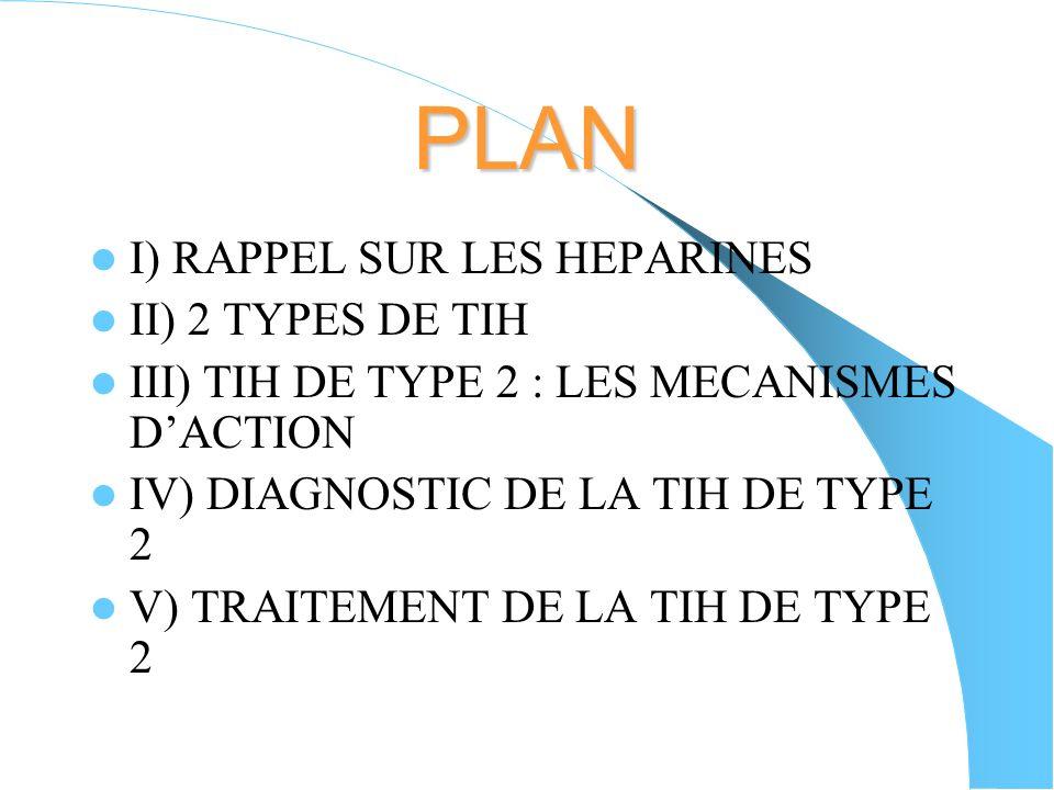 PLAN I) RAPPEL SUR LES HEPARINES II) 2 TYPES DE TIH III) TIH DE TYPE 2 : LES MECANISMES DACTION IV) DIAGNOSTIC DE LA TIH DE TYPE 2 V) TRAITEMENT DE LA TIH DE TYPE 2