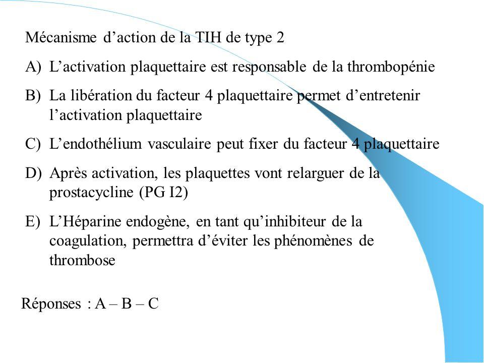 La TIH de type 2 A)Elle apparaît le plus souvent entre le 5ème et le 8ème jour après le début du traitement par héparine B)On constate généralement un