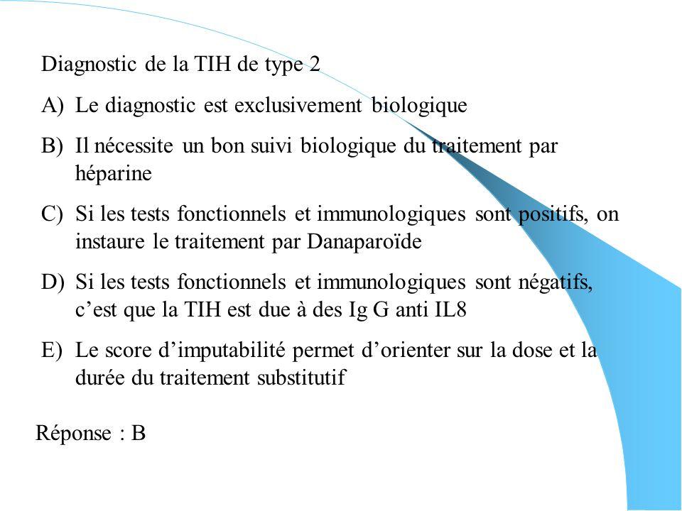 Mécanisme daction de la TIH de type 2 A)Lactivation plaquettaire est responsable de la thrombopénie B)La libération du facteur 4 plaquettaire permet d