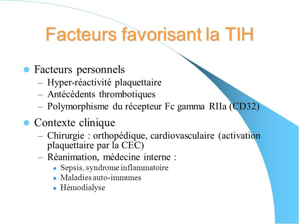 Facteurs favorisant la TIH Facteurs personnels – Hyper-réactivité plaquettaire – Antécédents thrombotiques – Polymorphisme du récepteur Fc gamma RIIa (CD32) Contexte clinique – Chirurgie : orthopédique, cardiovasculaire (activation plaquettaire par la CEC) – Réanimation, médecine interne : Sepsis, syndrome inflammatoire Maladies auto-immunes Hémodialyse