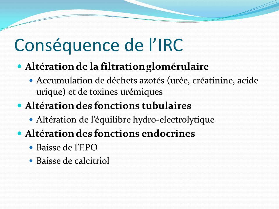 Conséquence de lIRC Altération de la filtration glomérulaire Accumulation de déchets azotés (urée, créatinine, acide urique) et de toxines urémiques A