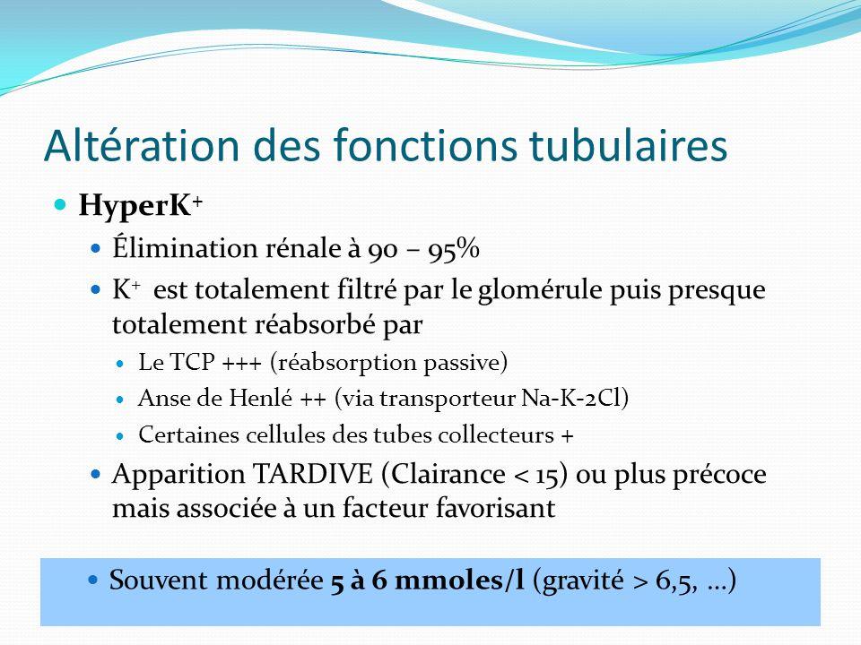 Altération des fonctions tubulaires HyperK + Élimination rénale à 90 – 95% K + est totalement filtré par le glomérule puis presque totalement réabsorb
