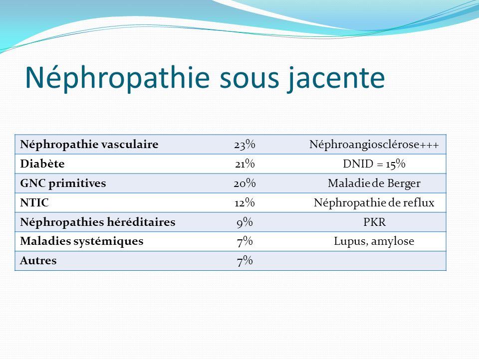Néphropathie sous jacente Néphropathie vasculaire23%Néphroangiosclérose+++ Diabète21%DNID = 15% GNC primitives20%Maladie de Berger NTIC12%Néphropathie