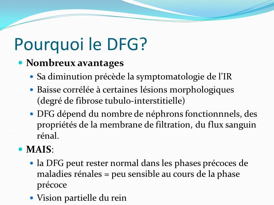 Pourquoi le DFG? Nombreux avantages Sa diminution précède la symptomatologie de lIR Baisse corrélée à certaines lésions morphologiques (degré de fibro