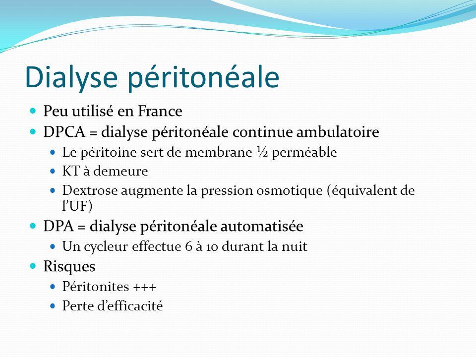 Dialyse péritonéale Peu utilisé en France DPCA = dialyse péritonéale continue ambulatoire Le péritoine sert de membrane ½ perméable KT à demeure Dextr