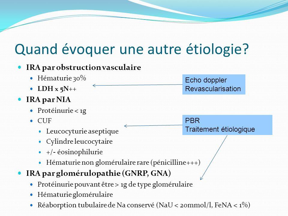 Quand évoquer une autre étiologie? IRA par obstruction vasculaire Hématurie 30% LDH x 5N++ IRA par NIA Protéinurie < 1g CUF Leucocyturie aseptique Cyl