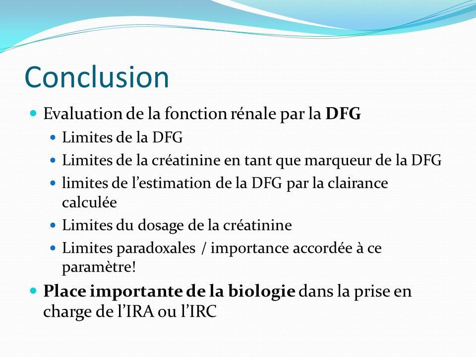 Conclusion Evaluation de la fonction rénale par la DFG Limites de la DFG Limites de la créatinine en tant que marqueur de la DFG limites de lestimatio