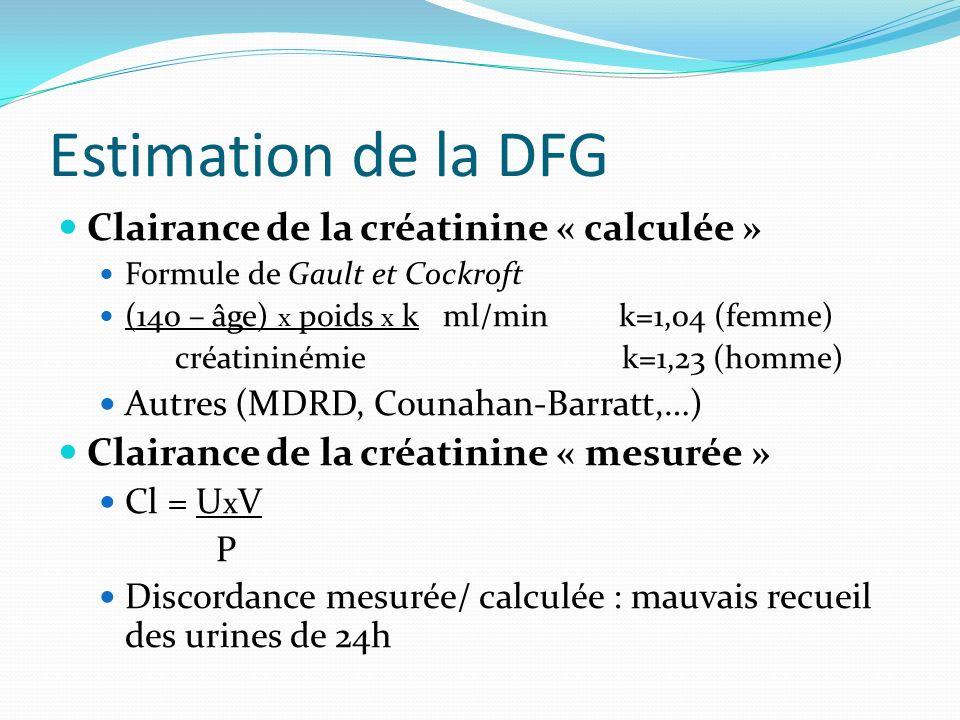 Estimation de la DFG Clairance de la créatinine « calculée » Formule de Gault et Cockroft (140 – âge) x poids x k ml/min k=1,04 (femme) créatininémie
