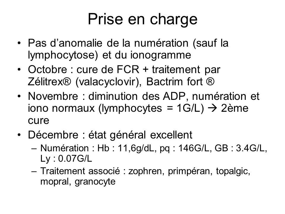 Prise en charge (2) Janvier (4ème cure) –État général excellent –Disparition des ADP –Apparition dun syndrome dépressif traité par Zoloft ® (sertraline) et Défanyl® (amoxapine) Février (5ème cure) Dans les suites de la 5ème cure : –PNN : 0.64G/L, Hb : 9,6g/dL, plaq : 12G/L transfusion 1 CPA puis 1CPA + 2CGR –Patiente apyrétique, pas dhémorragie cutanéo- muqueuse –Prescription bain de bouche bicarbonate/Eludril + granocyte