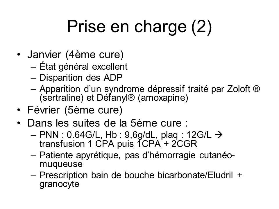 Complications 26/03/07 : hospitalisation –Hyperthermie à 38.5°C –Pétéchies dispersés sur tout le corps –Mucite buccale + aphtes –Hb : 9.4g/dL, GB : 0.12G/L, plaq : 2G/L, CRP : 100mg/L –Traitement par rocéphine®-tavanic® + 1CPA apyrexie, diminution de la CRP Isolement dans les hémocultures de Fusobacterium nucleatum traitement par augmentin® Retour à domicile : Neulasta, Aranesp, Triflucan, Zelitrex, Bactrim, Augmentin