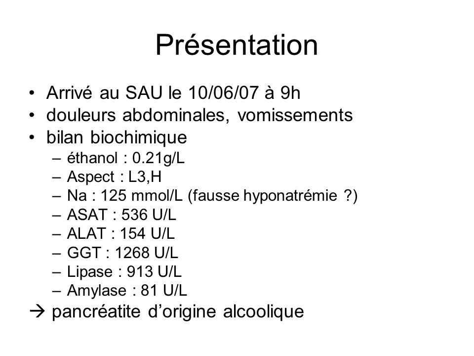 Présentation Arrivé au SAU le 10/06/07 à 9h douleurs abdominales, vomissements bilan biochimique –éthanol : 0.21g/L –Aspect : L3,H –Na : 125 mmol/L (fausse hyponatrémie ?) –ASAT : 536 U/L –ALAT : 154 U/L –GGT : 1268 U/L –Lipase : 913 U/L –Amylase : 81 U/L pancréatite dorigine alcoolique