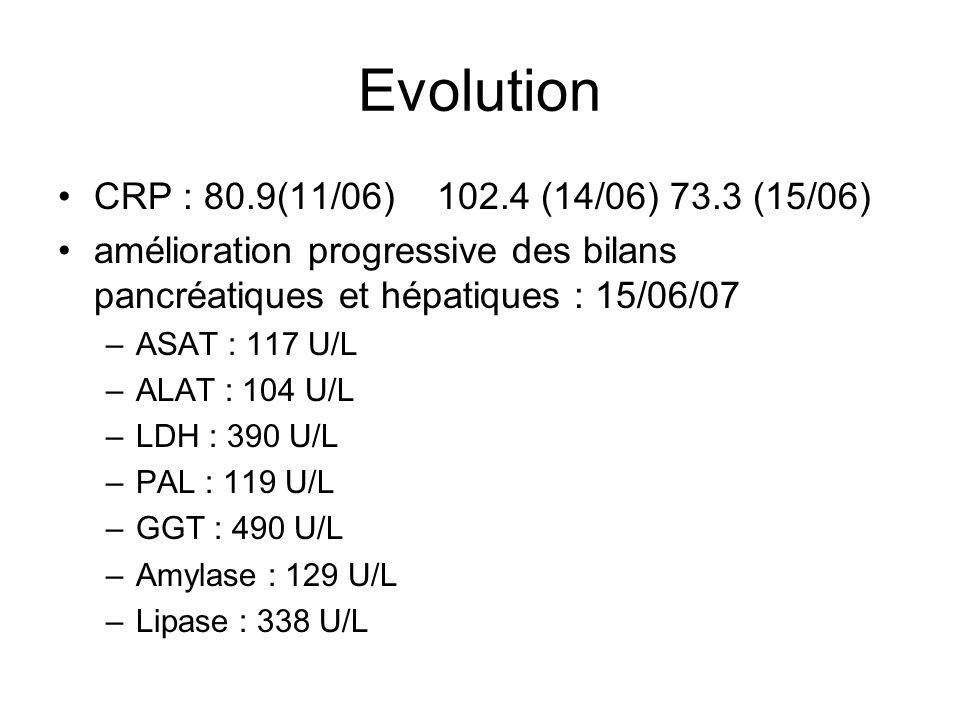 Evolution CRP : 80.9(11/06) 102.4 (14/06) 73.3 (15/06) amélioration progressive des bilans pancréatiques et hépatiques : 15/06/07 –ASAT : 117 U/L –ALAT : 104 U/L –LDH : 390 U/L –PAL : 119 U/L –GGT : 490 U/L –Amylase : 129 U/L –Lipase : 338 U/L