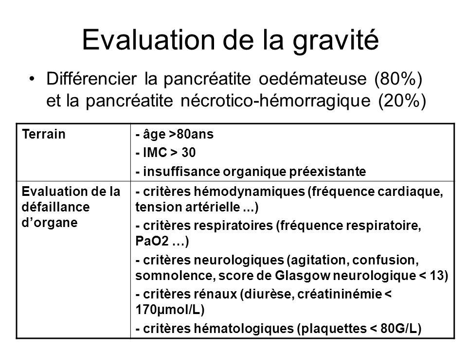 Evaluation de la gravité Différencier la pancréatite oedémateuse (80%) et la pancréatite nécrotico-hémorragique (20%) Terrain- âge >80ans - IMC > 30 - insuffisance organique préexistante Evaluation de la défaillance dorgane - critères hémodynamiques (fréquence cardiaque, tension artérielle...) - critères respiratoires (fréquence respiratoire, PaO2 …) - critères neurologiques (agitation, confusion, somnolence, score de Glasgow neurologique < 13) - critères rénaux (diurèse, créatininémie < 170µmol/L) - critères hématologiques (plaquettes < 80G/L)