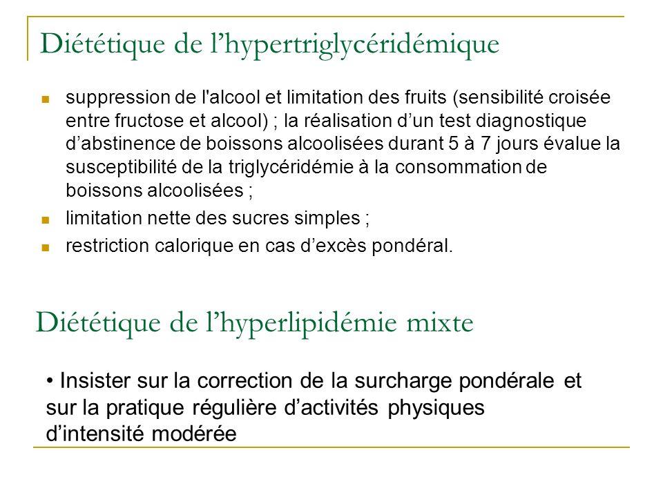 Diététique de lhypertriglycéridémique suppression de l'alcool et limitation des fruits (sensibilité croisée entre fructose et alcool) ; la réalisation