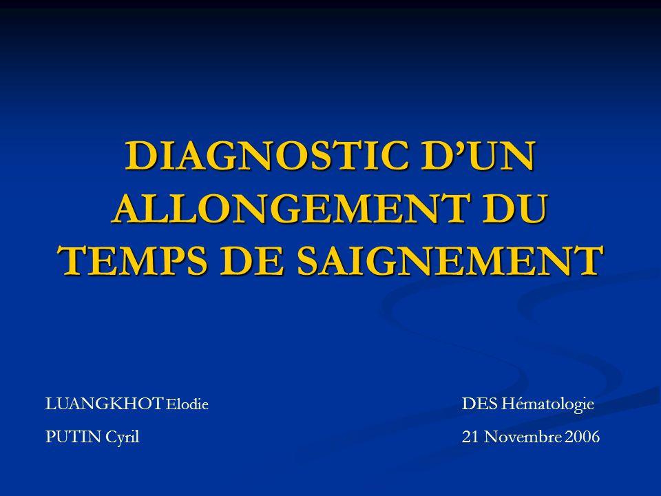 DIAGNOSTIC DUN ALLONGEMENT DU TEMPS DE SAIGNEMENT LUANGKHOT Elodie PUTIN Cyril DES Hématologie 21 Novembre 2006